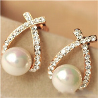 Overlapping Pearl Flash Drill Studs Are Exquisite Fashion Earrings Party Luxury