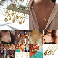 Fashion Multilayer Women Gold Alloy Clavicle Choker Chain Pendant Necklace