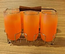 Six (6) Vintage BLENDO Glass West Virginia Frosted Orange Tumblers Carrier/Caddy