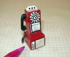 Miniature Resin 50's Pay Phone, RED for DOLLHOUSE 1/12 Scale Miniatures