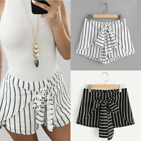 Women's Striped High Waist Shorts Ladies Summer Casual Mini Hot Pants Trousers