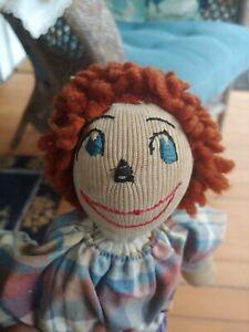 "vintage 14"" handmade sock cloth rag doll toy - primitive folk art"