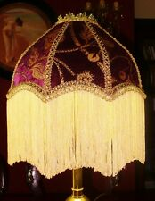 LANGTRY, A VICTORIAN DOWNTON STYLE LAMPSHADE.AUBERGINE PURPLE & GOLD VELVET 12""