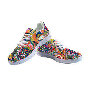 Womens Sports Floral Shoes Vintage Sneakers Casual Running Fitness Trainers