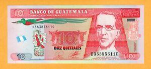 Guatemala UNC 10 Quetzales 2010 P-123a Banknote
