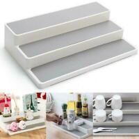 1X White 3 Tier Shelf Jar Rack Holder Cupboard Organiser Kitchen Storage D8C5