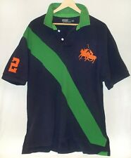 Vintage 1990s Big Pony Rugby Shirt Ralph Lauren Polo sport spellout green stripe