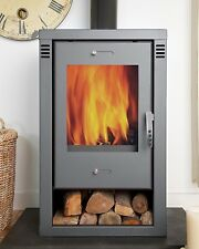 GREY 9kw Noriko Contemporary, Modern Woodburning, Multi-Fuel, Stove Stoves