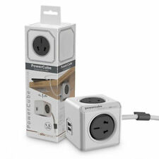 Allocacoc PowerCube Extended 4 Outlets and 2 USB Ports 1.5M - One Cube Grey NEW