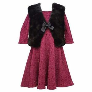 BONNIE JEAN® Little Girls' 6 Textured Dress & Faux Fur Vest Set NWT $64