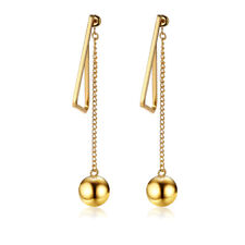 Ball Stainless Steel Long Chain Asymmetric Drop Earrings Women Falling Dangle