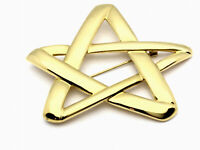 Vintage VERY LARGE Gold Plated Monet FIVE POINT STAR Brooch Pin GIFT BOXED