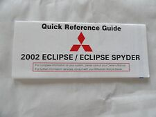 2002 Mitsubishi  Eclipse Quick Reference Guide Owners Manual Supplement