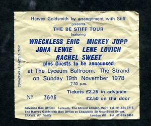 Be Stiff Tour (Stiff Records) concert ticket stub- Lyceum Ballroom London 1978