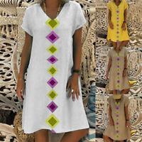 ZANZEA Womens Summer Short Sleeve V Neck Casual Baggy Mini Dress Ladies Dresses