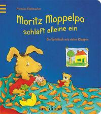 Moritz Moppelpo schläft alleine ein Spielbuch mit Klappen Ab 2 Jahre +BONUS
