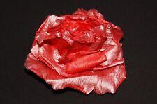 Señoras hermosas Color Rojo Brillante Rosa Cabello Pin/Ropa Broche W efecto metálico (S404)