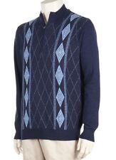 Greg Norman Men's Small Navy Argyle Quarter Zip Sweater Cotton/Merino Wool NWT