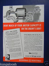 1942 HOW MUCH OF YOUR MOTOR CAPACITY IS ON THE ENEMY'S SIDE? G-E VINTAGE ART AD