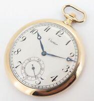 .Antique Cartier 18k Yellow Gold 45.5mm 18J Pocket Watch C.1930s