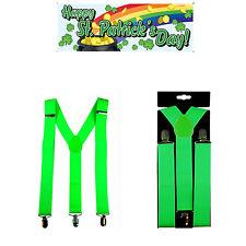 St Patricks Neon Green Suspenders Braces Geek Nerd Irish Leprechaun 80's Costume