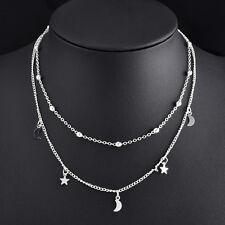 Women Charm Beads Moon Stars Pendant Statement Bib Chain Necklace Choker Jewelry