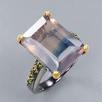 Fluorite Ring Silver 925 Sterling Bi-Color gem 15x11 mm. Size 7.5 /R136814