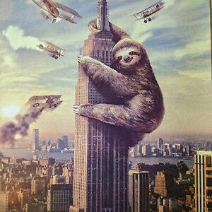 """Hard to Find - Sloth as King Kong Poster Print - Great Shape! Rolled 18 x 24"""""""