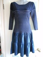 new Karen Millen navy blue & silver wool & silk stretch jumper dress size 2