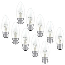 10 x Clear Candle 40w Dimmable B22 BC Bayonet Cap Light Bulb Lamp