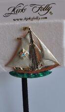 Kirks Folly Sail Boat Pin Tac Style In Gold Tone