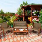 4pcs Outdoor Patio Rattan Furniture Set Acacia Wood Frame Sofa Loveseat Garden