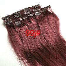 "Clip in Human Hair Extensions Black Brown Blonde Red Full Head Set 16""-30"""