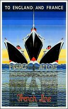 1920s French Line 4 England France Ocean Liner Travel Advertisement Poster Print