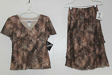 FREE SHIPPING R & M Richards Womens 8 Brown 2 Pc Outfit Blouse & Skirt Lined NEW