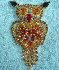"""FS HUGE 4"""" JULIANA OWL BROOCH Red ORANGE Wiskey BLACK Rhinestones Vintage Desing"""