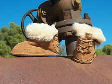 New UGG BABY BOO Chestnut Infant Suede Sheepskin Toddler Boot Size  S 2/3  M 4/5