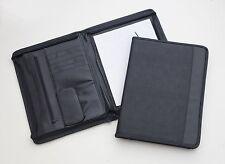 Carpeta de Conferencia con Cremallera Nuevo sostiene A4 Pad de imitación de cuero negro Free UK Post