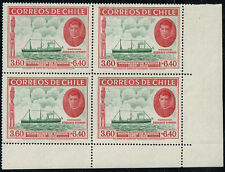 CHILE 1940 STAMP # 266 MNH BLOCK OF FOUR EASTER ISLAND SHIP CORNER OF SHEET