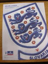 28/03/2009 England v Slovakia [At Wembley] . This item is in very good condition