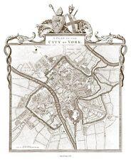 City of York Plan 1775 - repro map T. Jefferys 46x39cm, 18x15ins, old / vintage