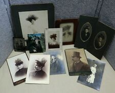 12 Antique Photos Women Wearing Hats Man Top Hat Victorian Tintype Cabinet Cards