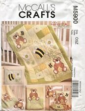 McCall M5900 FF Sewing Pattern Bear Honey Bee Bib Blanket Pillow Toy Quilt Baby