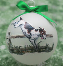 rD072 Hand-made Christmas Ornament dog - American Foxhound - jumping fence right