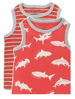 Boys tank top tshirt - 2 pack age 2 3 4 5 6 7 y ( Mini Boden quality) red sharks