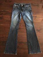American Eagle Super Stretch Kick Boot Sz 0 Reg Womens Jeans Dark Wash 26x30