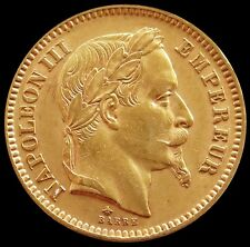 1862 A GOLD FRANCE 20 FRANCS NAPOLEON III CHOICE ABOUT UNCIRCULATED CONDITION