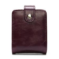 Women Genuine Leather Make Up Case Lipstick Bag Cigarette Snap Bag Mirror Purple