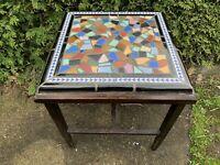 Antique Mid Century Mod Ceramic Tile End Table