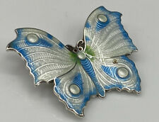Superb Art Deco Hallmarked Sterling Silver Guilloche Enamel Butterfly Brooch